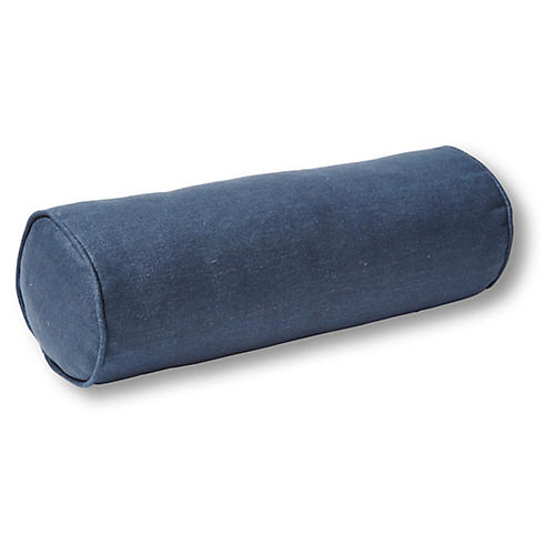 Anne Bolster Pillow, Navy Linen