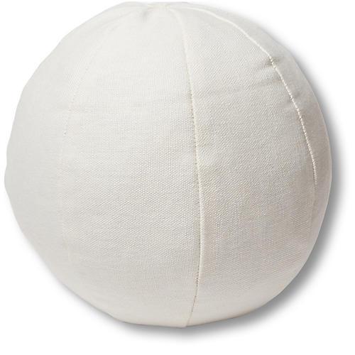 Emma 11x11 Ball Pillow, White Linen
