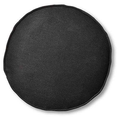 Claire 16x16 Disc Pillow, Black Linen