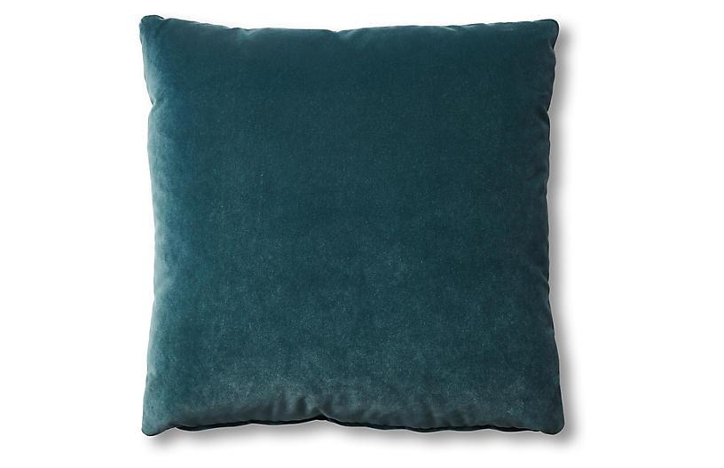 Hazel Pillow, Teal Velvet