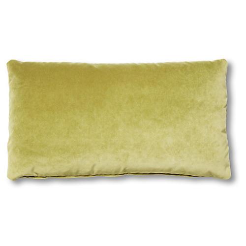 Ada Long Lumbar Pillow, Chartreuse Velvet