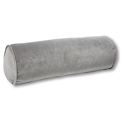 Anne Bolster Pillow, Light Gray Velvet