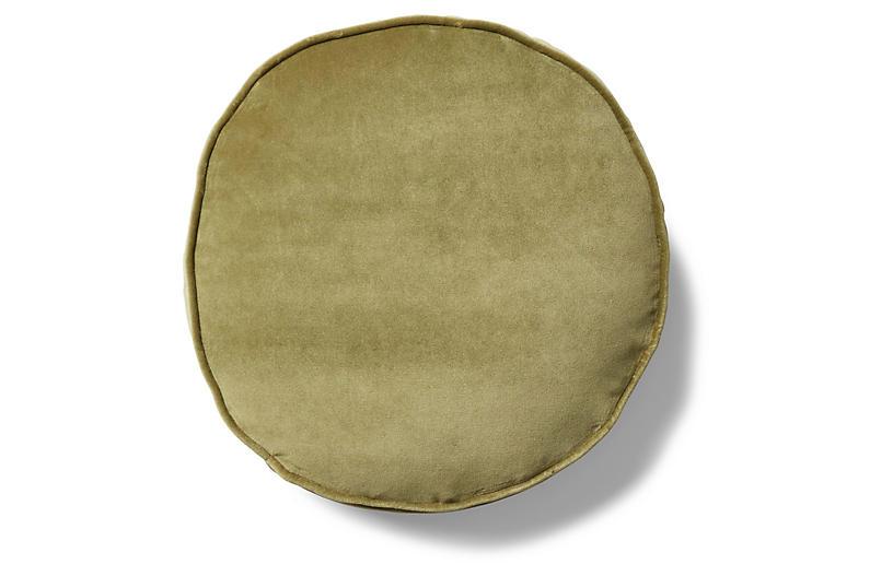 Claire 16x16 Disc Pillow, Moss Velvet