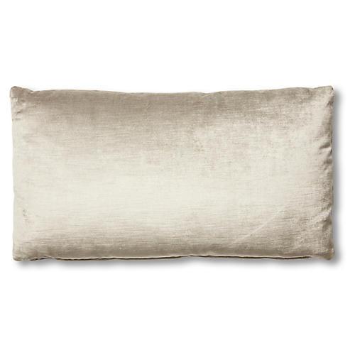 Ada Long Lumbar Pillow, Silver-Gray Velvet