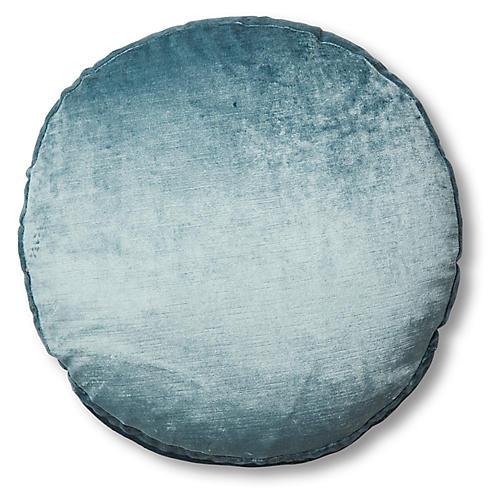 Claire 16x16 Disc Pillow, Denim Blue Velvet