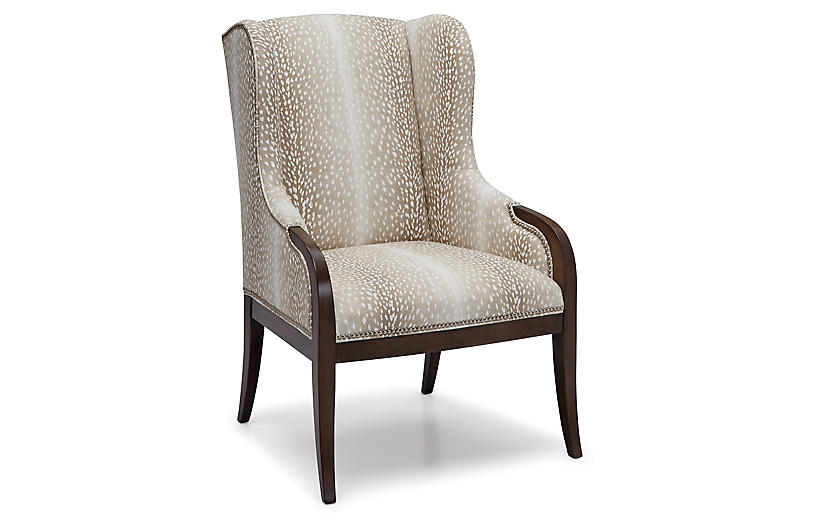 Anne Wingback Chair, Natural Fawn