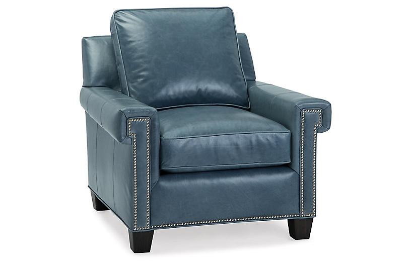 Oakes Club Chair, Adriatic Leather