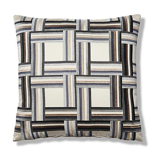 Oscar 22x22 Pillow, Gray/Cream