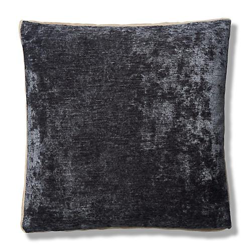 Hannah 22x22 Box Pillow, Charcoal/Cream Velvet