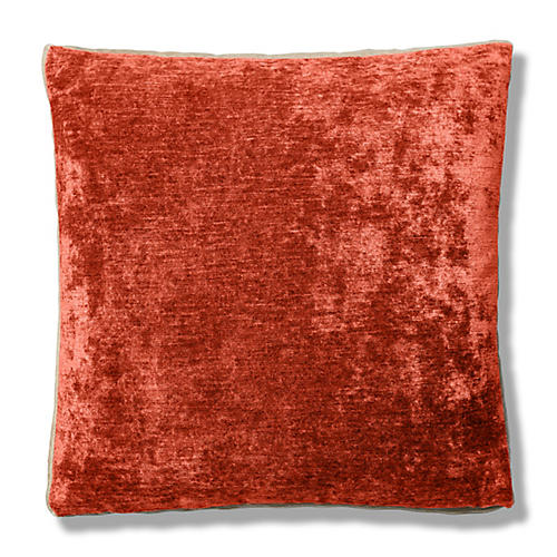 Hannah 22x22 Box Pillow, Tomette/Cream Velvet