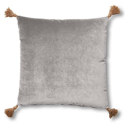 Lou 19x19 Pillow, Light Gray Velvet