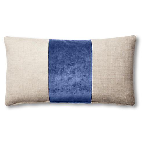 Blakely 12x23 Lumbar Pillow, Natural/Cobalt