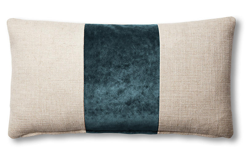 Blakely 12x23 Lumbar Pillow, Natural/Teal