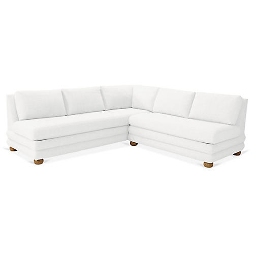Millbrae Right-Facing Sectional, White Linen