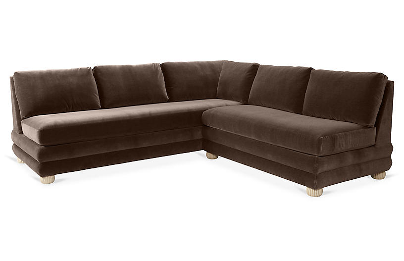 Millbrae Right-Facing Sectional, Café Velvet