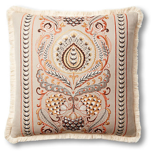 Jules 22x22 Pillow, Orange/Tan