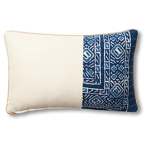 Tiffany 15x23 Lumbar Pillow, Blue/Beige