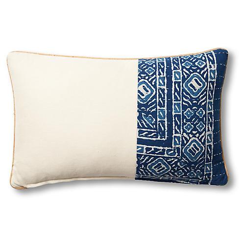 Tiffany 15x23 Lumbar Pillow, Blue/Beige