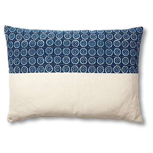 Layla 18x26 Lumbar Pillow, Blue/Beige