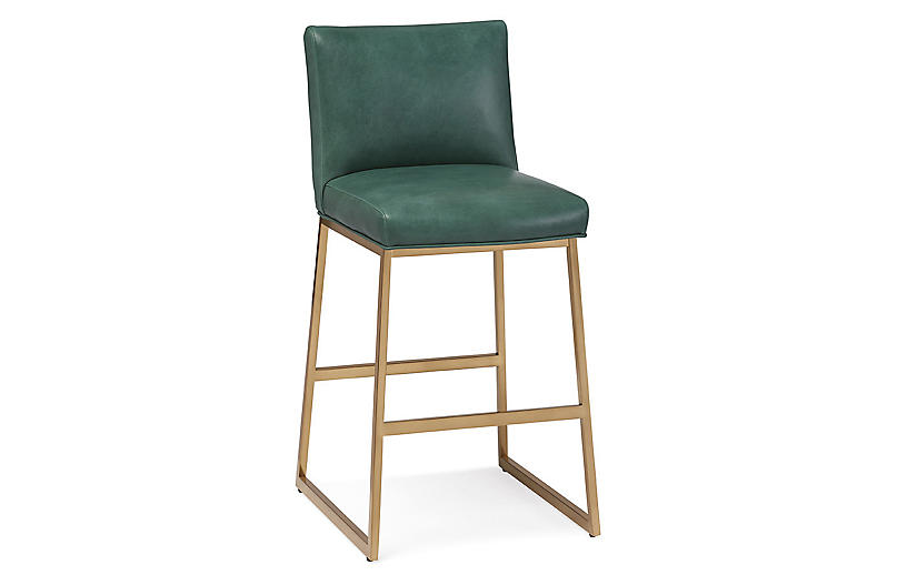 Hollas Bar Stool, Green Leather