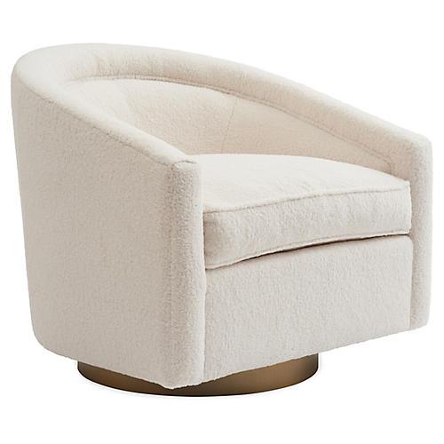 Benson Swivel Chair, Cream