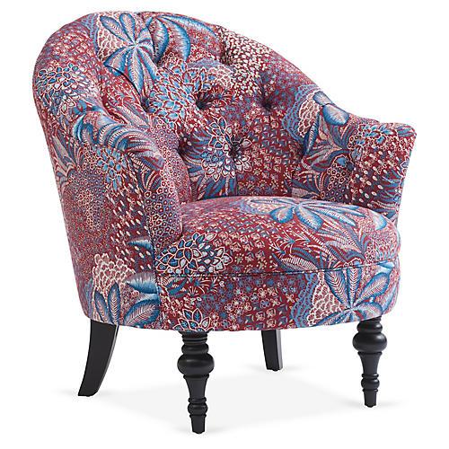 Elizabeth Accent Chair, Red/Cobalt