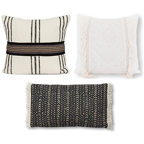Evie Pillow Bundle, Black/Ivory