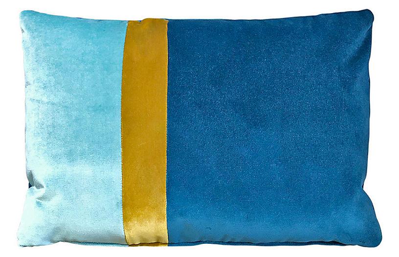 Elsa 14x20 Lumbar Pillow, Cyan/Gold Velvet