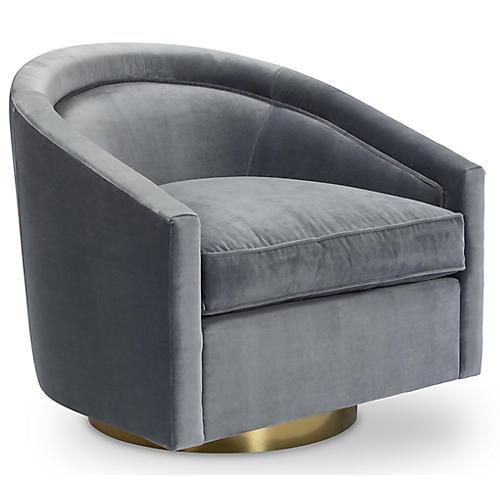 Benson Swivel Chair, Delft Velvet