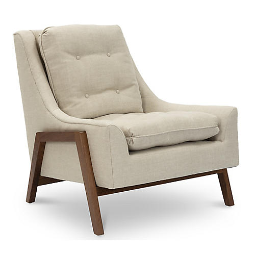 Grace Accent Chair, Natural Linen
