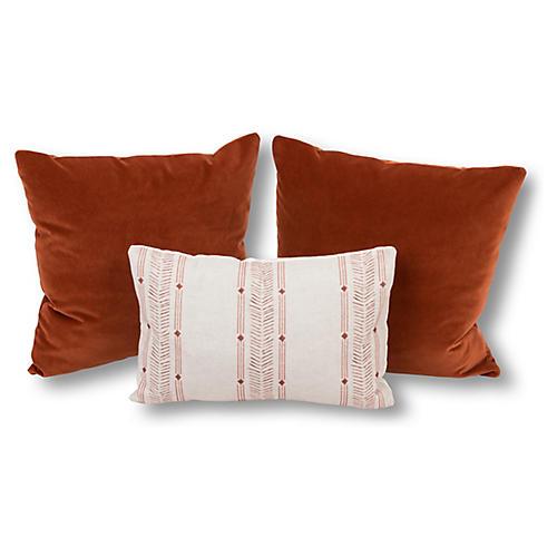 S/3 Savannah Pillow Bundle, Rust/Natural