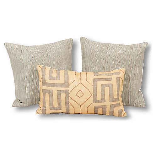 S/3 Lauren Pillow Bundle, Gray/Sand