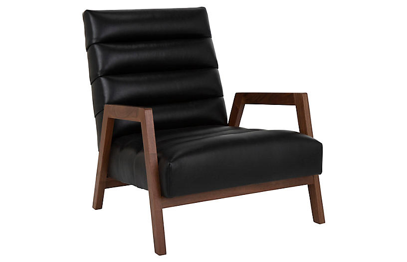 Gracie Leather Channel Chair, Onyx