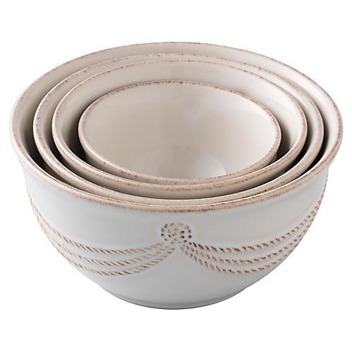 S/4 Berry & Thread Prep Nesting Bowls, White