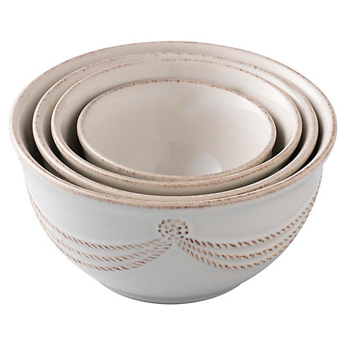 S/4 Berry & Thread Prep Nesting Bowls, White