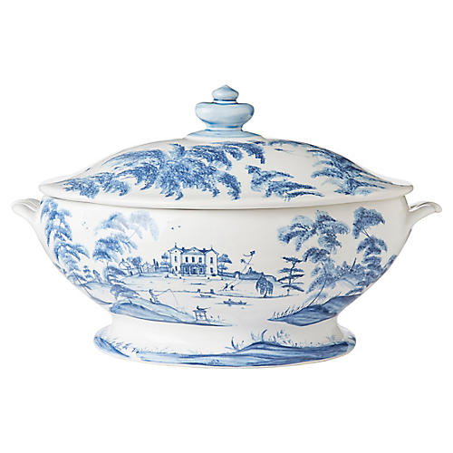 Country Estate Tureen, White/Blue