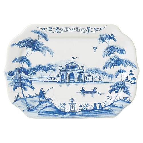 Country Estate Serving Tray, White/Blue