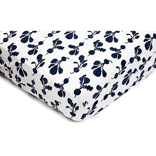 Radish Fitted Crib Sheet, Denim