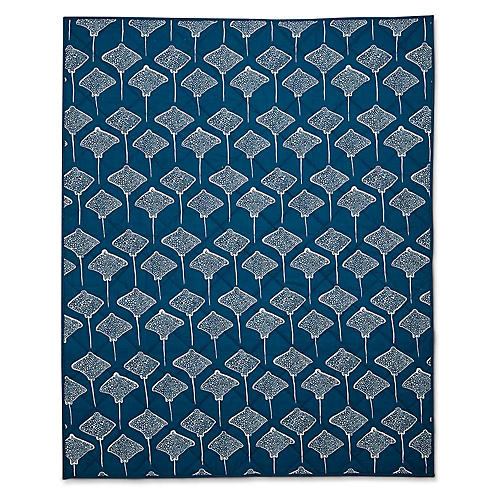 Inverse Stingray Quilted Baby Blanket, Denim