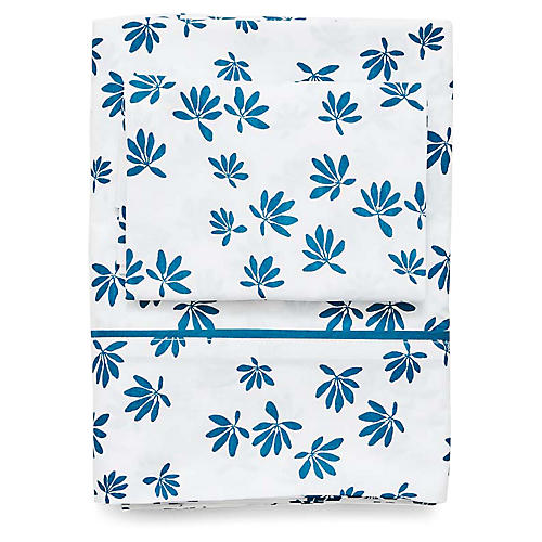 Palm Sheet Set, Captain's Blue
