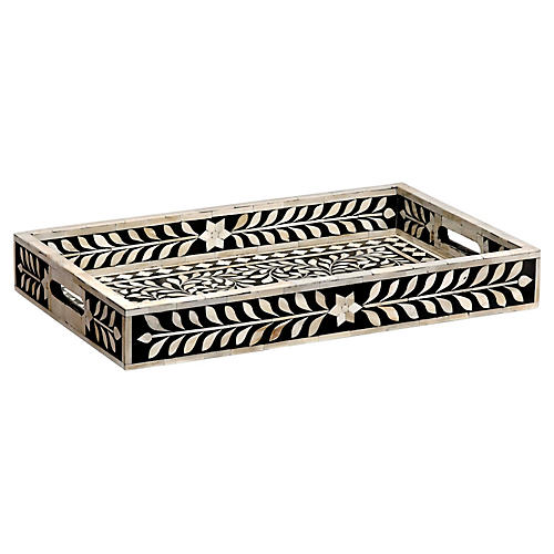 "22"" Imperial Beauty Decorative Tray, Black/White"