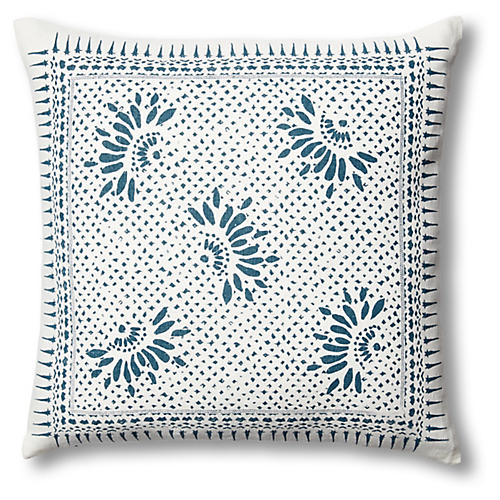 Gracie Flower 22x22 Linen Pillow, Blue