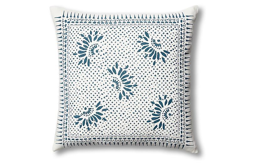 Gracie Flower 22x22 Linen Pillow, Blue