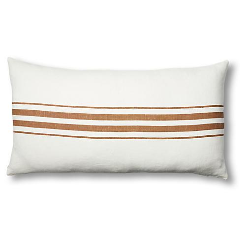 Frenchie 17x34 Linen Lumbar Pillow, Bark