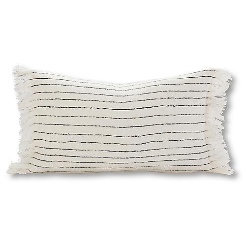 Free Stripe 12x20 Lumbar Pillow, Charcoal