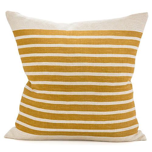 Calvin Stripe 22x22 Pillow, Ochre