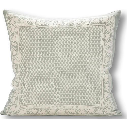 Savannah 22x22 Pillow, Mineral/White