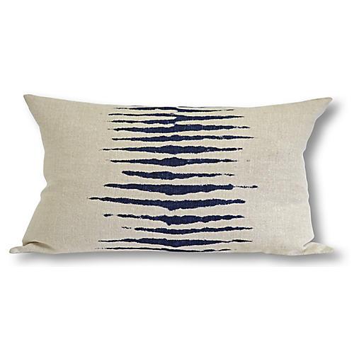 Wild One 17x34 Lumbar Pillow, Taupe/Navy
