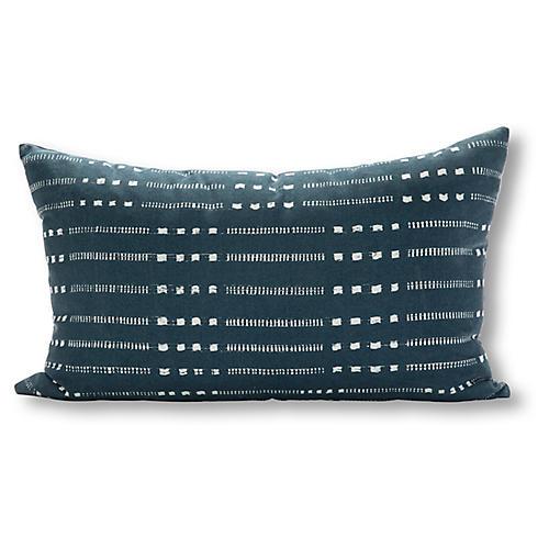 Belmont 16x28 Outdoor Pillow, Navy/White