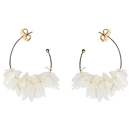 Lolita Mini Hoop Earrings, White